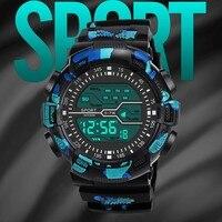 Reloj de pulsera deportivo para hombre, cronómetro Digital Lcd, resistente al agua, con fecha, de goma, de lujo, Masculino
