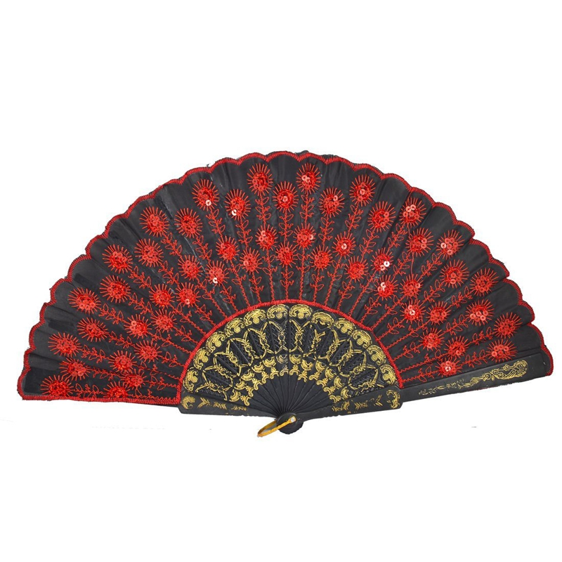 NEW-SODIAL(R) Red Embroidered Flower Pattern Black Cloth Folding Hand Fan For Woman