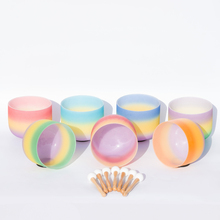 """1PC 8"""" Note C/D/E/F/G/A/B Chakra Rainbow Frosted Quartz Crystal Singing Bowl"""
