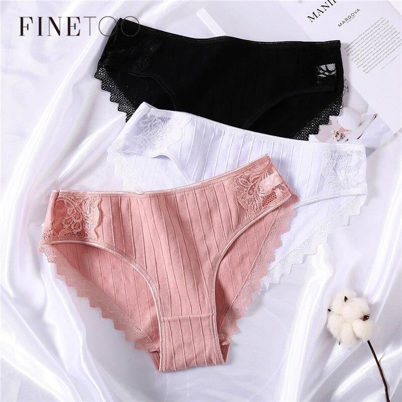 3Pcs/lot Cotton Panties Women Lace Underwear Sexy Briefs Breathable Underpants Female Intimate Solid Color Ladies Lingerie M-XL