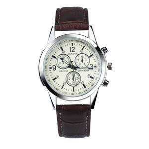 Image 4 - Mens Watch BlueRay Glass Leather Belt Mens Watches Geneva Business Wristwatch  Relogio Masculino Anniversary Gifts for Husband