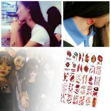 30PCS  Halloween Zombie Scar Tattoos Fake Scars Cut-throat Bloody Makeup Decoration Wound Scary Blood Injury Sticker