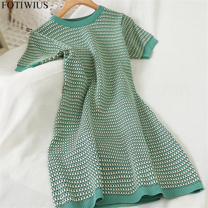 Korean Style Knit Sweater Dress Women Short Sleeve Vintage Dress Spring Summer Knitted Bodycon Dresses High Quality Robe Femme