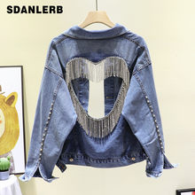 Summer Autumn Cool Back Shiny Rhinestone Tassels Hollow-out Heart-Shaped Jeans Jacket Cropped Jacket Fashion Womens Denim Coat(China)