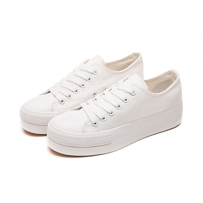 Fashion Spring Autumn Canvas Shoes Casual Platform Vulcanized Shoes Sneakers Flat Mouth High Quality Fashion White Black D9 16