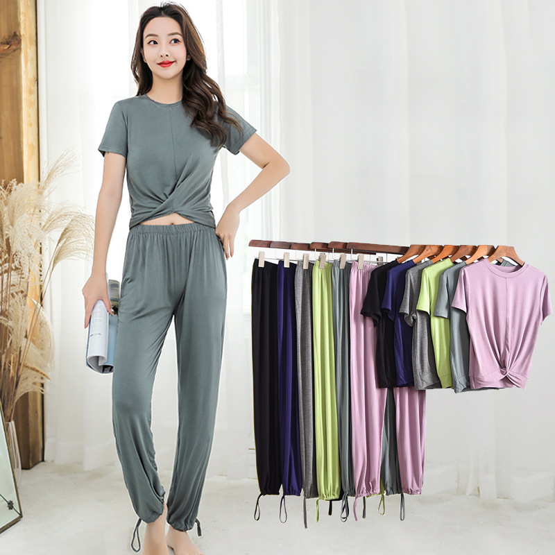 Loose Slim Modal Ladies Homewear Suit Women's Atoff Home Suit Female Modal Pajamas Set Women 2 Piece Set Sleepwear Long Pants