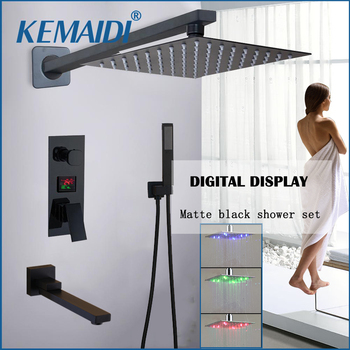 KEMAIDI Matte Black LED Digital Display Shower Faucet Set Rainfall Folding Bathtub Shower System LCD Digital Shower Mixer Tap frap digital bathroom shower mixer with display bath shower faucet system set wall mount mixer digital display shower panel