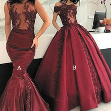 SuperKimJo Suknie Wieczorowe Mermaid Evening Dresses Long 2021 Burgundy Lace Applique Modest Evening Gown Vestidos(only style A) cheap Boat Neck NONE Floor-Length Polyester Trumpet Mermaid Formal Evening Appliques Beading CRYSTAL Pleat Sleeveless champagne evening dress