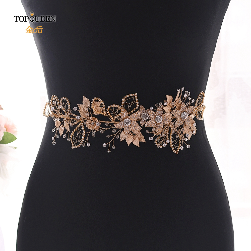 TOPQUEEN Bridal Belts With Rhinestones Jewel Belt For Women Gold And Crystal Belts For Women Alloy Flower Waist Belt SH282-S