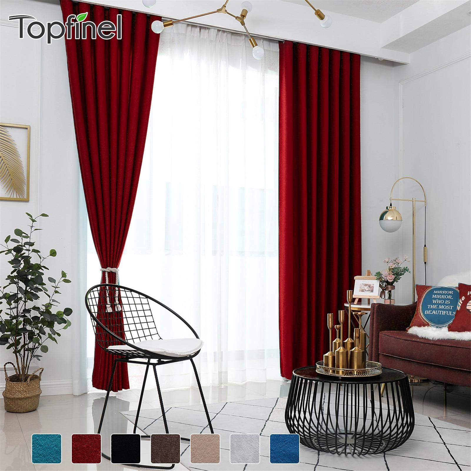 Plain Velvet Cotton Curtains for Living Room Bedroom Door Window Panel Blackout Curtain Drapes Burgundy Grey Black Coffee Brown