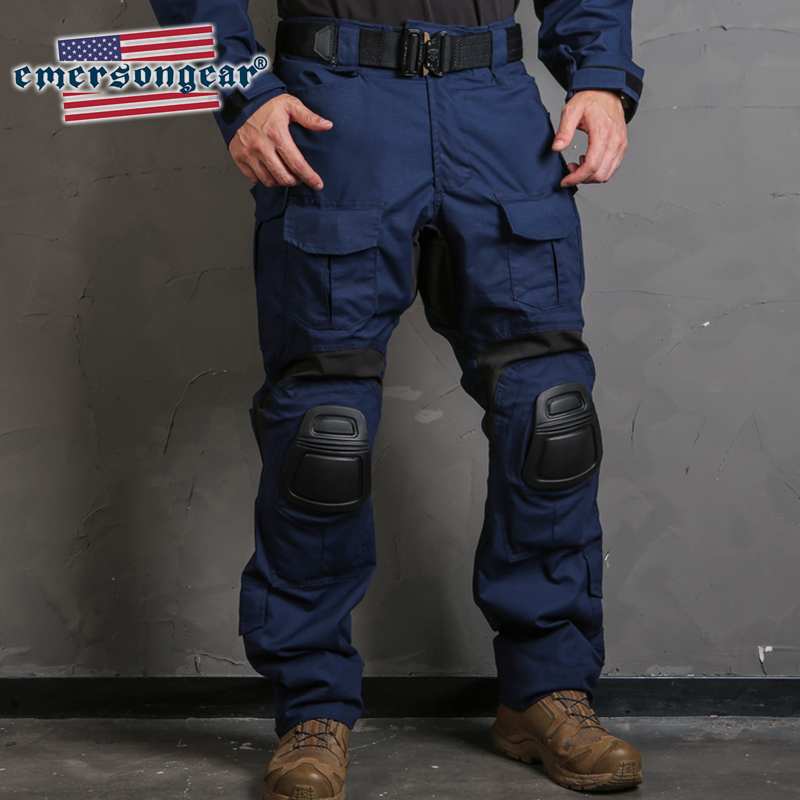 emersongear Blue Label <font><b>G3</b></font> <font><b>Combat</b></font> <font><b>Pants</b></font> Military Tactical Nylon Navy Blue Trousers Mens Duty Training Cargo <font><b>Pants</b></font> w Knee Pads image