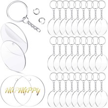 Round Acrylic Keychain Blanks and Key Chains Set Clear Acrylic Pendant Transparent Circle Craft Charms for DIY Projects(China)