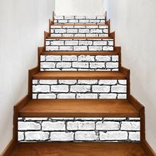 цена на 6pcs/set 3D Brick Staircase Stair Riser Floor Sticker Self Adhesive DIY Stairway Waterproof PVC Wall Decal Home Decor