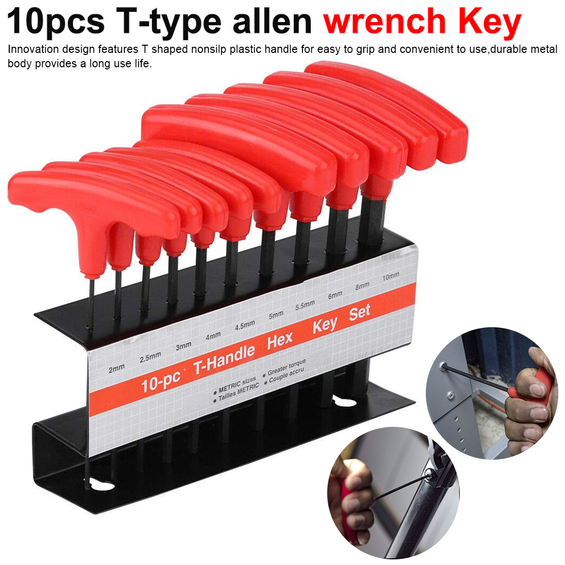 10pcs T-Handle Hex Key Allen Wrench 2.00mm-10.0mm Metric Wrench Set Non-slip Multifunctional Wrenches Repair Hand Tools