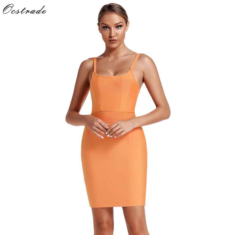 Ocstrade Sexy Ladies Bodycon Summer Dresss 2019 New Arrival Spaghetti Strap Short Mini Bandage Dress Woman Evening Party Dresses