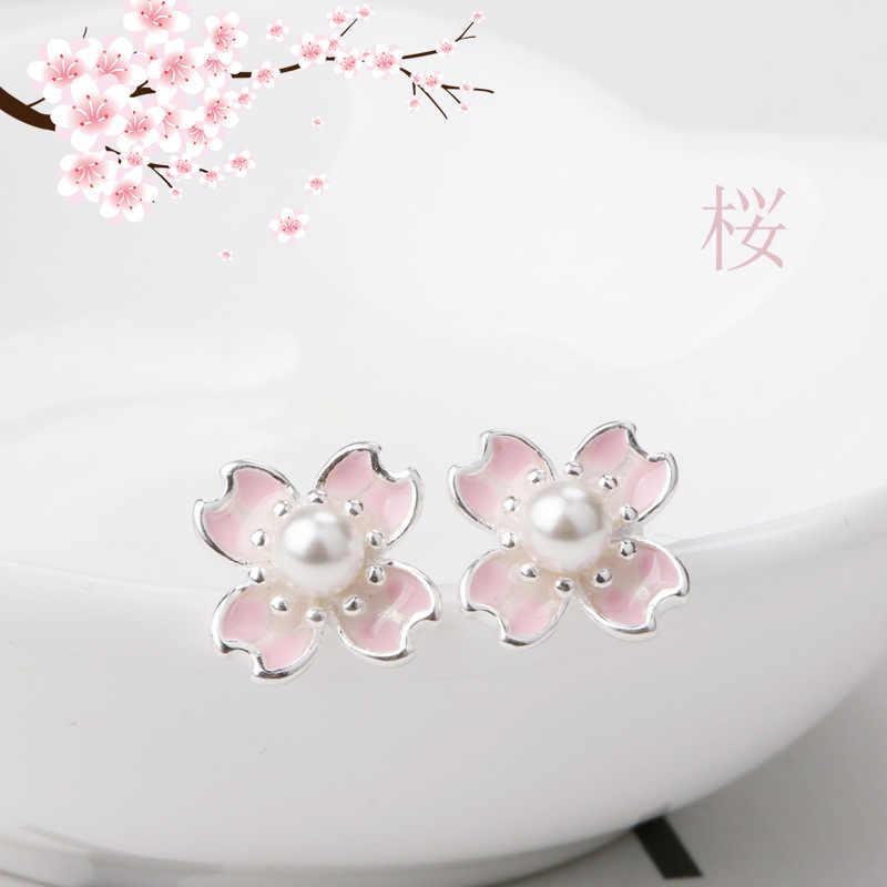 Pendientes de plata de ley 925 con perlas y flores de cerezo para mujer, regalos de boda, pendientes de plata de ley 925 eh089 para mujer