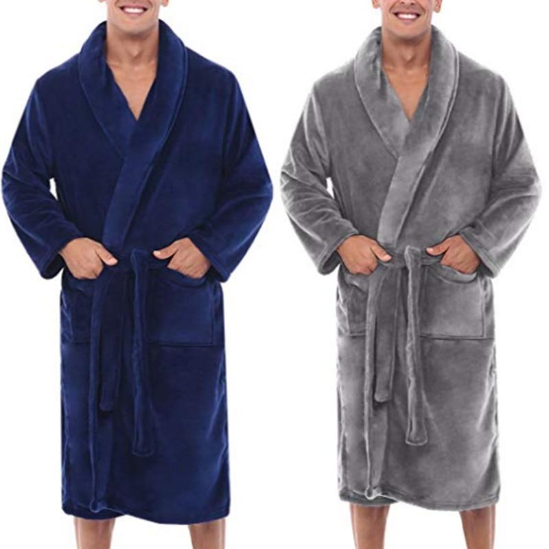 Mens Winter Warm Plush Lengthened Shawl Bathrobe Home Shower Clothes Long Robe Coat J55