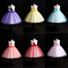 Skyyue Girl Pageant Dress Appliquie Embroidery  Flower Tulle Flower Girl's Dresses for Wedding O-neck Communion Gowns 2019 156 skyyue girl pageant dress lace ruffles crystal tulle flower girl s dresses for wedding o neck bow communion gowns 2019 736
