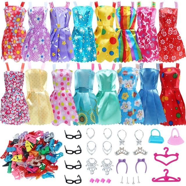 42 Item/Set Doll Accessories = 10Pcs Shoes + 8 Necklace 4 Glasses 2 Crowns 2 Handbags + 8 Pcs Doll Dress Clothes for Barbie Doll 1