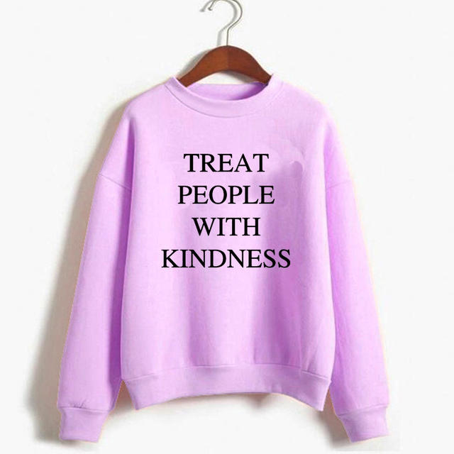 Casual Warm Pullover Hoodie Female Jumper Long Sleeve Autumn Winter Harry Styles Treat People With Kindness Women S Sweatshirt