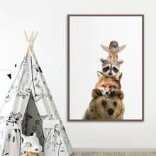 Настенный декор с милыми мультяшными животными медведь лиса