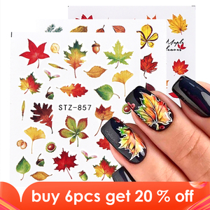 Image 1 - 1pcs Fall Leaves Nail Art Stickers Gold Yellow Maple Leaf Water Decals Sliders Foil Autumn Design For Nail Manicure TRSTZ856 859