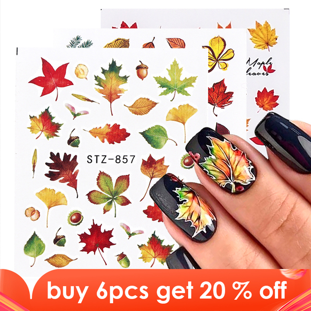 1pcs Fall Leaves Nail Art Stickers Gold Yellow Maple Leaf Water Decals Sliders Foil Autumn Design For Nail Manicure TRSTZ856 859