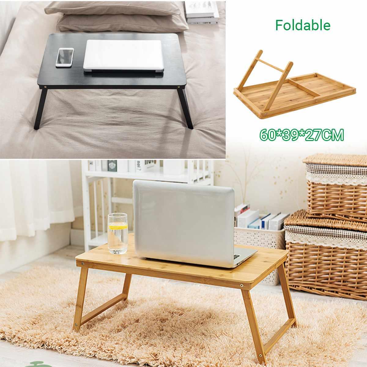 Folding Table Desk Portable Wood Computer Desk Kids Study Living Room Bedroom In Bed/ Sofa/ Floor Outdoor Desk Coffe Tea Table
