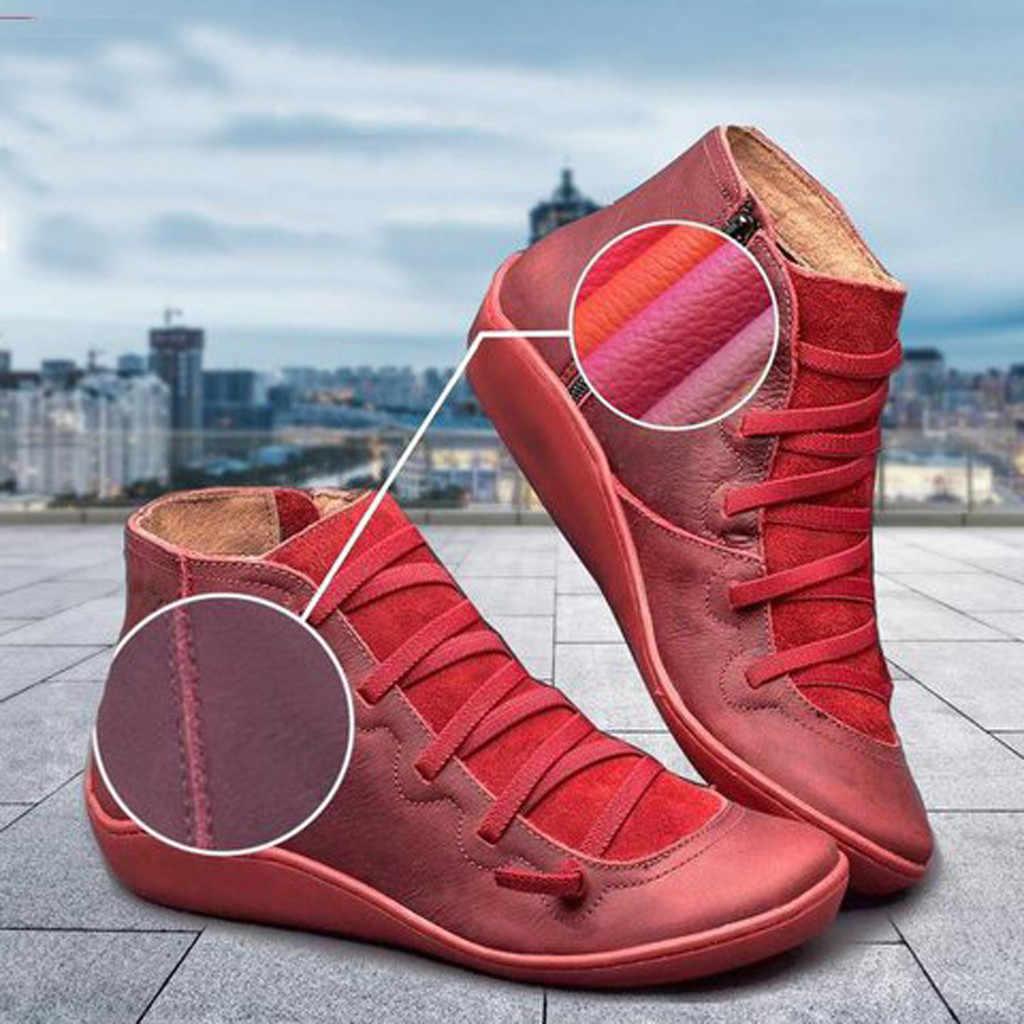 Kadın düz topuk yuvarlak kafa botları rahat deri Retro dantel-up çizmeler yan fermuar yuvarlak ayak ayakkabı kadın kar çizmeler chaussures femme