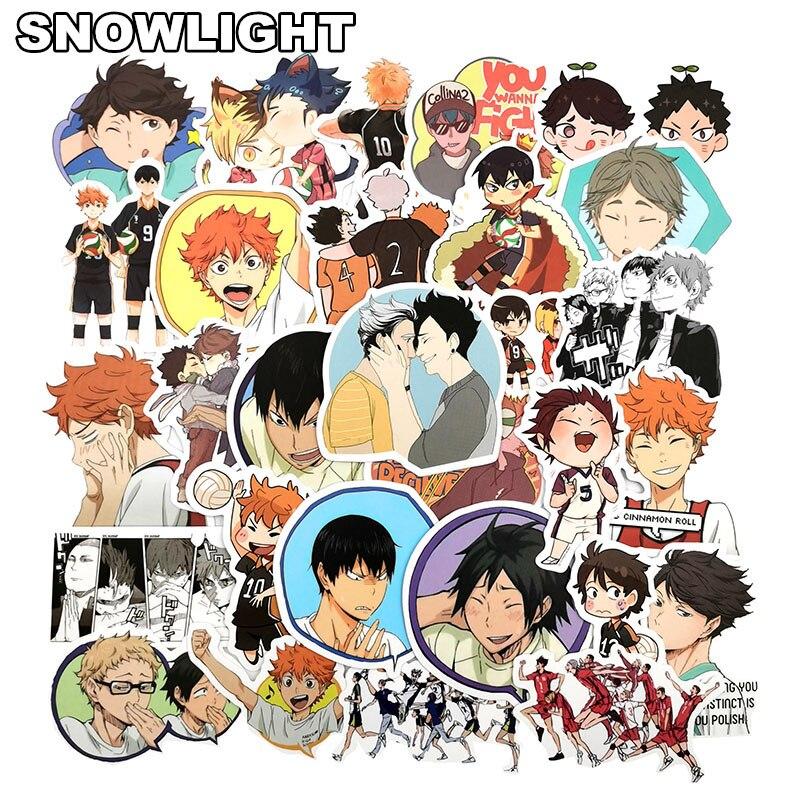50pcs/set Japan Anime Haikyuu Volleyball Cartoon Children Stickers Skateboard Guitar Suitcase Girls Waterproof Sticker Kids Toys