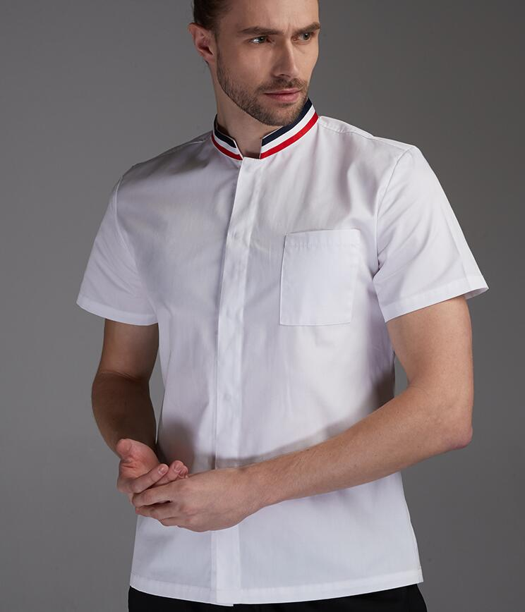 New Men Cook Suit Restaurant Chef Jacket Short Sleeved Thin Chef Uniform Cook Clothes Summer Spring Kitchen Work Wear CK587