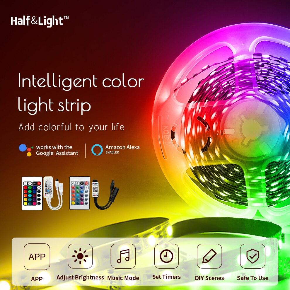 Tira conduzida rgb 5050 2835 à prova dbluetooth água bluetooth wifi controle casa decoração compatível com alexa google luzes de natal