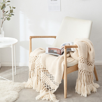 Blankets For Beds Hand-knitted Sofa Blanket Photo Props  Tassel Weighted Blanket Air Conditioning Blanket Chunky Knit Blanket