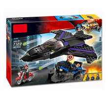 Decool 7122 Superheroes Avengers 4 Black Panther Pursuit Compatible Marvel Endgame Figures Building Blocks 76047