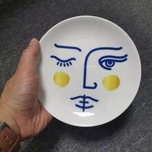 Разнообразная тарелка для лица, круглая керамическая тарелка для сервировки еды, тарелка для соуса с человеческим лицом, декоративные таре...