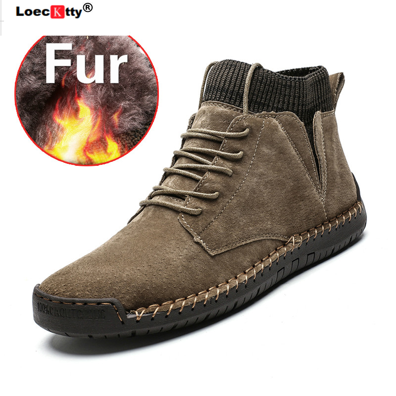Fashion Ankle Men Shoes Brown Leather Casual Winter Shoes Boots With Fur Warm Plus Size Men Shoes High Top Male Footwear 2019