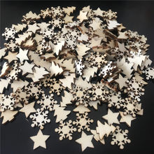 50pcs Wooden Christmas Tree Snowflakes Stars DIY Christmas Hanging Ornaments Pendant Table Confetti Christmas Home Decorations(China)
