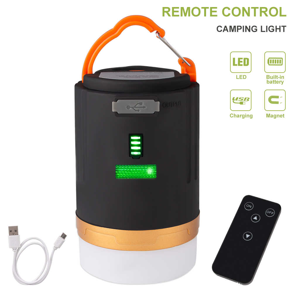 Mini LED Camping Light Waterproof Rechargeable Lantern Lamp with Remote Control