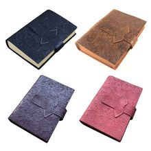 Vintage Cowhide Leather Travel Journal Notebook A5 Diary Embossed Flower Notepad