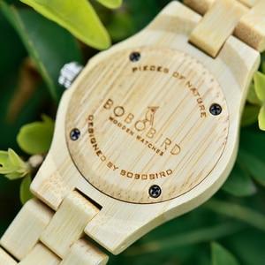 Image 3 - בובו ציפור גבירותיי יוקרה שעונים במבוק עץ אופנה ייחודי נשים קוורץ שעון יד relogio feminino עם יהלומים
