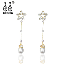 DREJEW Blue Star Water Drop Pearl Statement Earrings 2019 Long Tassel Silver Gold for Women Fashion Jewelry HE9011
