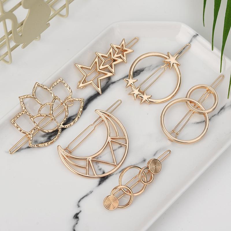 Fashion Women Hair Accessories Triangle Hair Clip Pin Metal Geometric Alloy Moon Circle Hairgrip Barrette Girls Holder