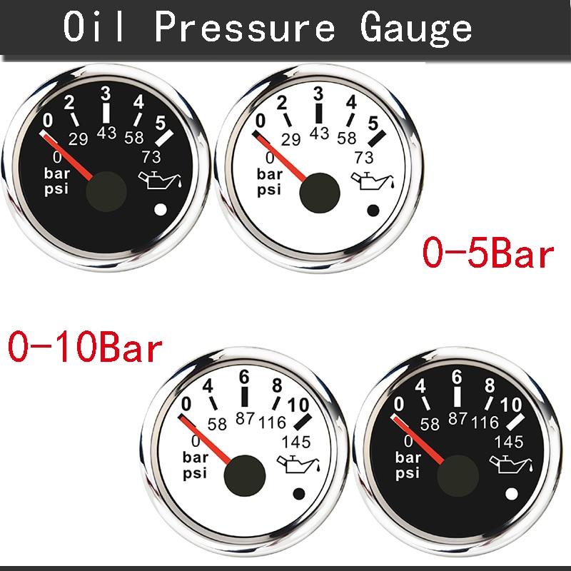 52MM Oil Pressure Gauge Car Boat Oil Pressure Indicator Meter 0-5 Bar / 0-10 Bar with alarm Fit For Marine Auto Motorcycle