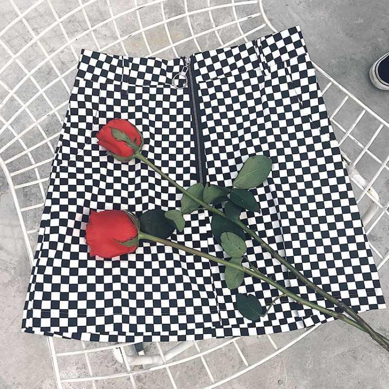 夏の女性の黒と白の鉄リング市松チェック柄ガールスカート韓国スカートスカートスカート2019新