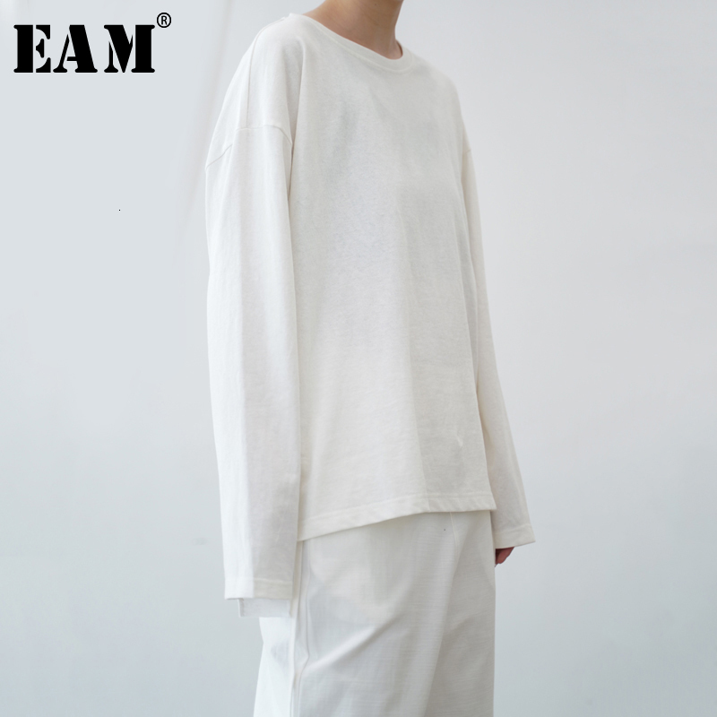 [EAM] Women Black White Brief Big Size Loose Fit T-shirt New Round Neck Long Sleeve Fashion Tide Spring Autumn 2020 1B657