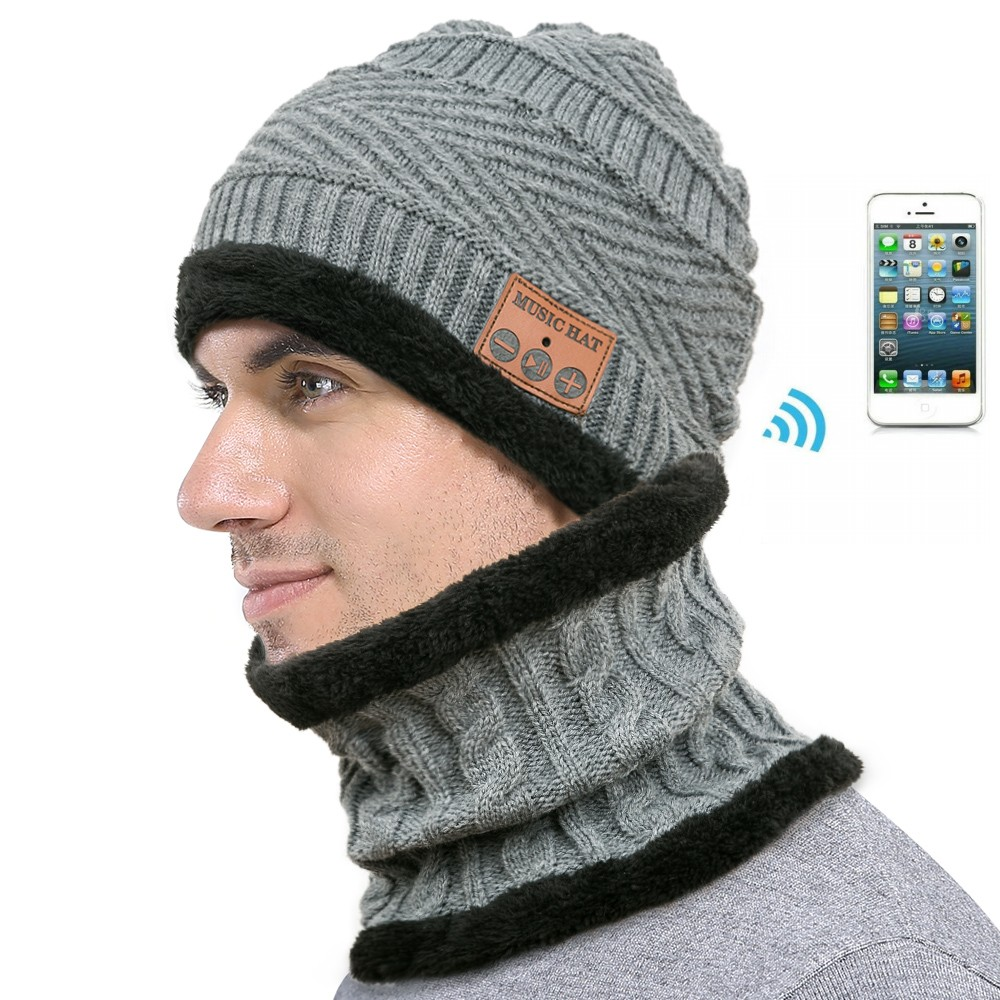 Wireless Bluetooth Beanie Hat Scarf Headphones Cap Hand-free Music Warm Knitted Hats Plus Velvet For Men Women
