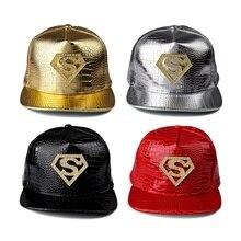 Бейсбольная кепка Супермена хип-хоп унисекс Snapback, бейсболка из искусственной кожи с регулируемым размером в стиле хип-хоп бейсболка с плоским козырьком