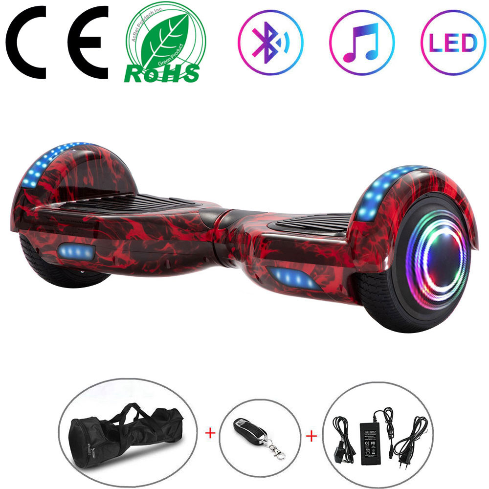 6.5 Inch Flame Hoverboard Smart Electric Scooter 2 Wheels LED Lights Kids Self Balance Scooter Balance Board Bluetooth+Key+Bag|Self Balance Scooters| |  - title=