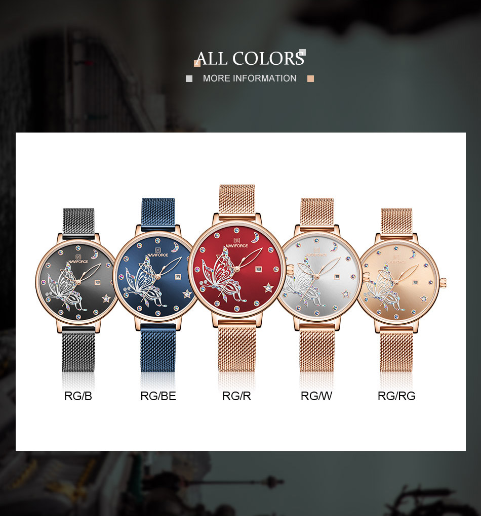 He307b268438e4befb9a0d40cd958409dJ - NAVIFORCE Luxury Brand Watch Women Fashion Dress Quartz Ladies Mesh Stainless Steel 3ATM Waterproof Casual Watches for Girl