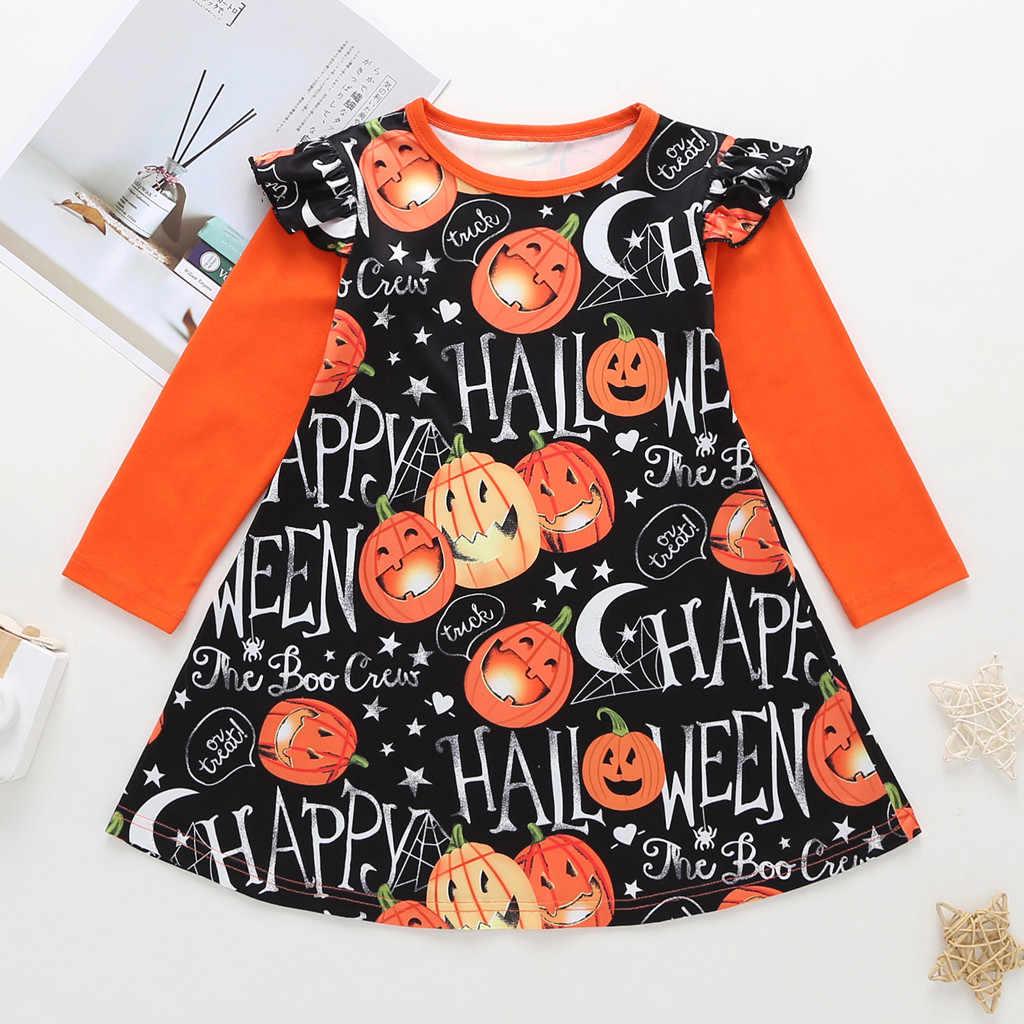 Vestidos Da Criança Do Bebê Dos Miúdos Meninas Halloween Dos Desenhos Animados Impressão Vestido de Princesa Vestido de Festa Vestidos de Manga Longa Roupas de Outono Inverno